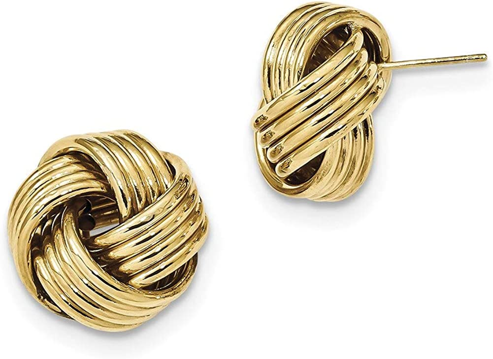 Lex /& Lu 14k Yellow Gold Polished Textured Love Knot Post Earrings LAL119183