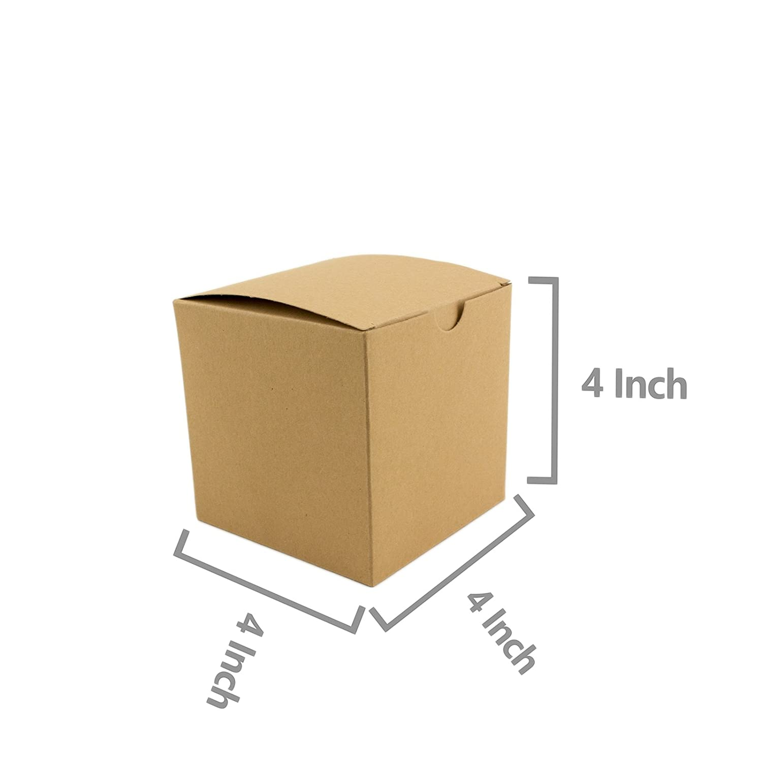 Adorox 50 Pack 4 x 4 x 4 Kraft Boxes Cardboard Gift Box with Lids for Wedding Birthday Holiday Baby Shower Favor Brown, 4 X 4 X 4