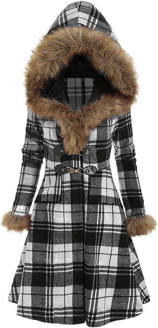 FNKDOR Manteau à Capuche Femmes Vintage Punk Gothique Noble Manteaux en Laine Artificielle à Manches Longue avec Poche Hiver Chaud Trench Coat