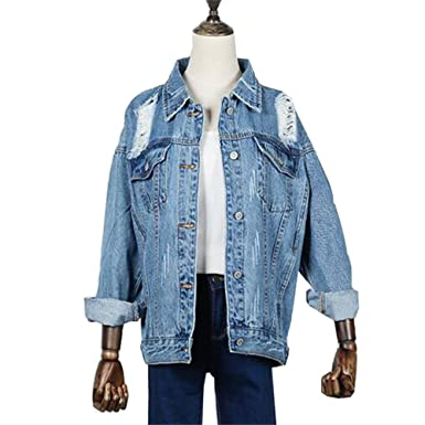 Women Jacket And Coats Spring Boyfriend Hole Jeans Denim Jackets Loose Chaquetas Mujer Long Sleeve dark