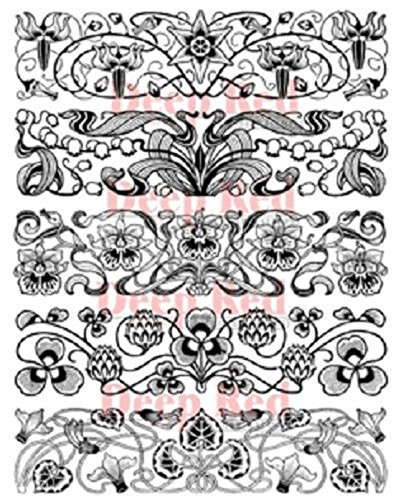 Deep Red Stamps Art Deco Borders Rubber Stamp Set