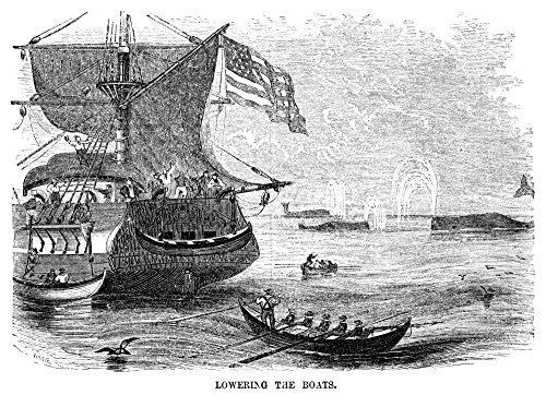 Boat Whaling (Whaling 1855 NLowering The Boats American Whalers Approaching A Pod Of Whales In Rowboats Wood Engraving American 1855 Poster Print by (24 x 36))