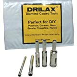 "Drilax™ 5 Pcs Diamond Drill Bit Set 3/16"", 1/4"", 5/16"", 3/8"", 1/2"" - Wet Use for Tiles, Glass, Fish Tanks, Marble, Granite, Ceramic, Porcelain, Bottles, Quartz - Lot 5 Diamond Coated Drills - Kitchen, Bathroom, Shower, Lamps Drilax050513"