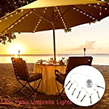 Umbrella String Lights, Battery Operated String Lights for Outdoor Patio Umbrella, 104 Total LEDs - 8 Strings - 13 LEDs Per String (Warm White)