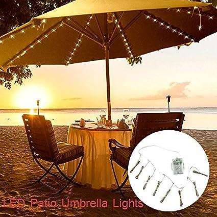 Teepao Umbrella String Lights,Patio Umbrella String Lights Battery  Operated,104 Total LEDs,