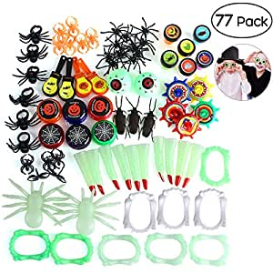 Unomor Halloween Novelties Toys Assortment for Kids, Perfect for Halloween Treats and Prizes, 15 Styles with 77 PCS