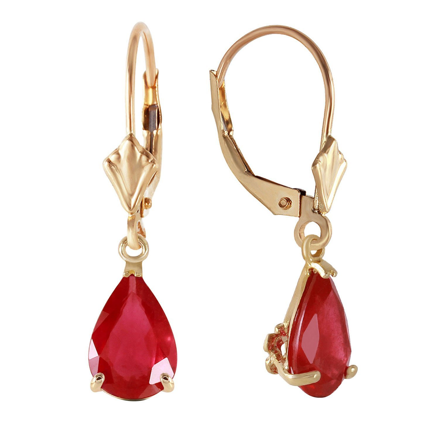 3.5 CTW 14k Solid Gold Leverback Earrings with Natural Pear-shaped Ruby by 💎Galaxy Gold💎 (Image #2)