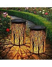OxyLED latarnie solarne, 2 sztuki, IP44, wodoszczelne, dekoracyjne, solarne latarnie do użytku na zewnątrz, dekoracja ogrodu, na patio, taras i podwórko, Boże Narodzenie (ciepła biel)