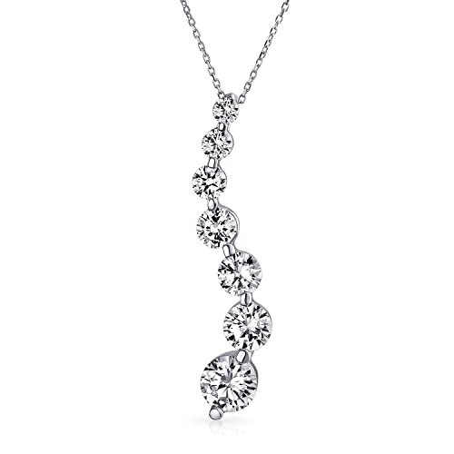 2.5CT Solitaire Round Cubic Zirconia AAA CZ Love Is A Journey Pendant Necklace For Women For Wife 925 Sterling Silver