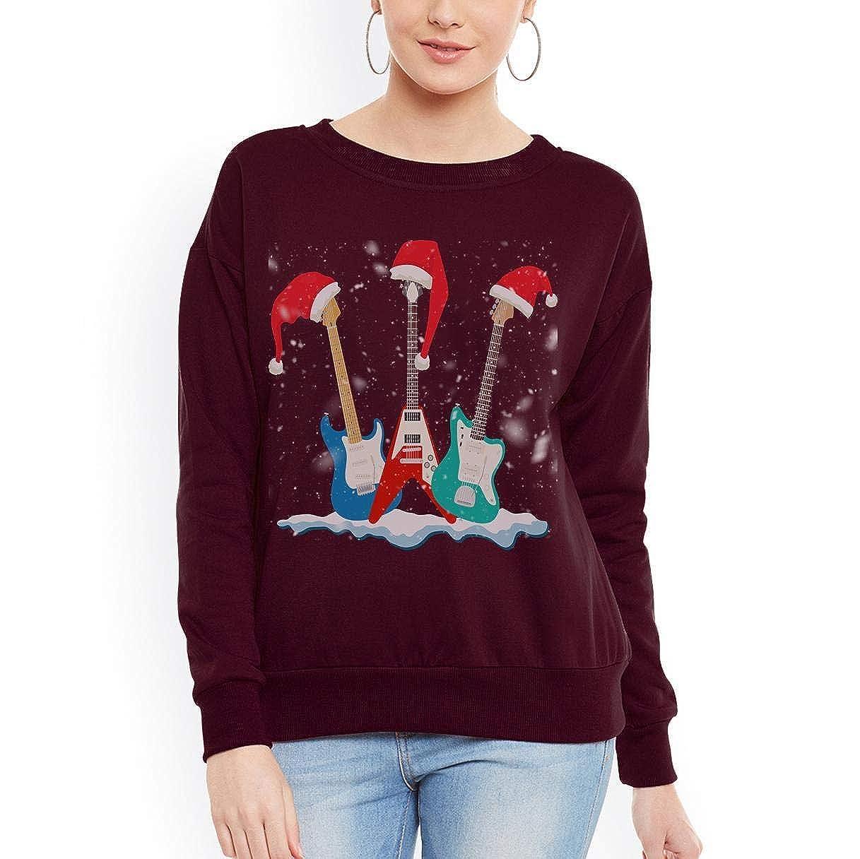 tee Doryti Santa Hat Electric Guitar Classical Guitar Christmas Women Sweatshirt