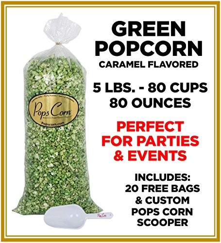 Popcorn Green (GOURMET GREEN POPCORN-BULK-80 CUPS-80oz- FREE SCOOPER-)