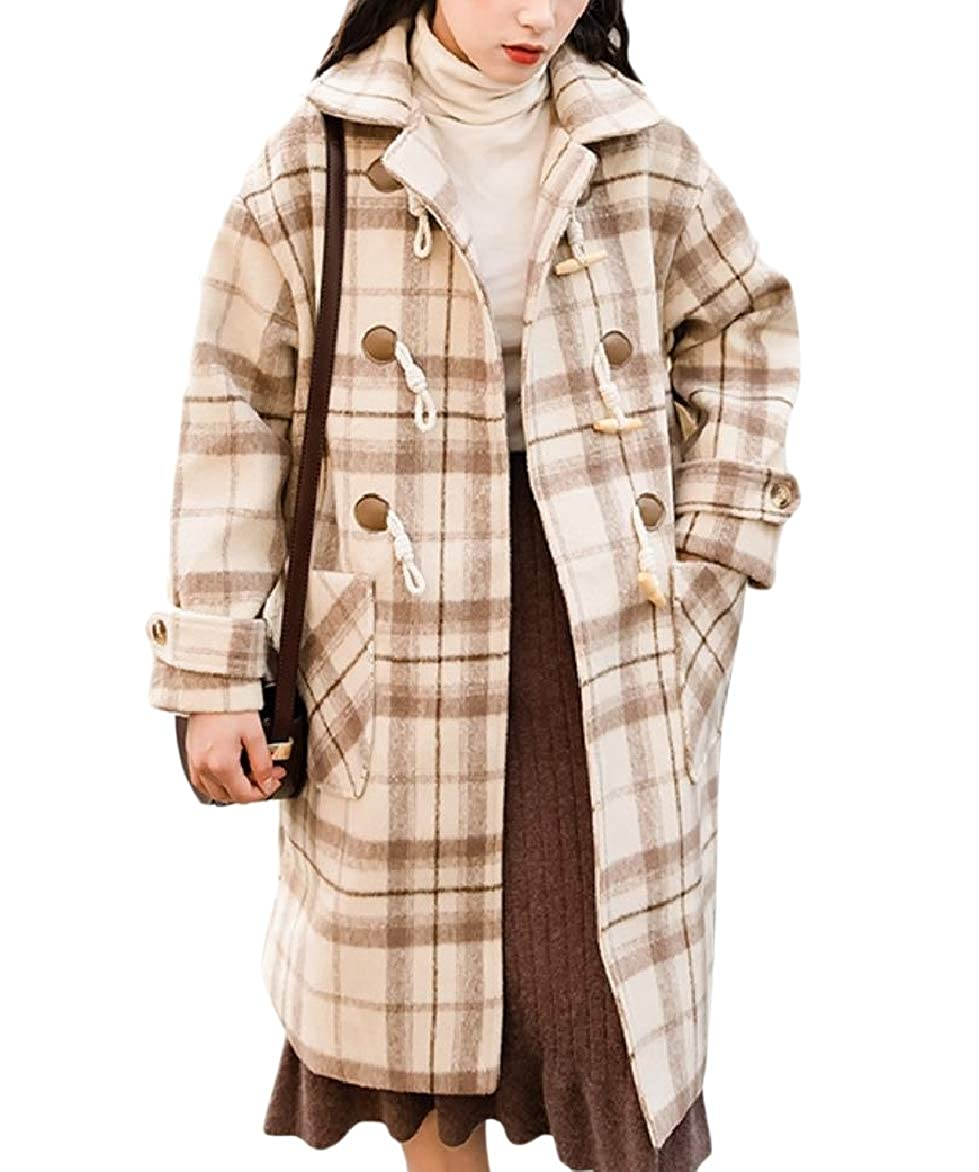 Abetteric Womens Plaid Thickened Woolen Horn Button Trench Coat Baggy Style Jacket