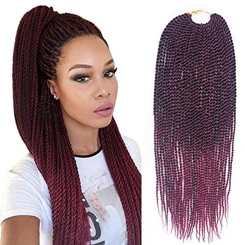 8Pcs/Pack Senegalese Twist Crochet Hair 18 Inch 30Strands/Piece Synthetic Senegal Crochet Braids Hair for Women (#T1B/530)