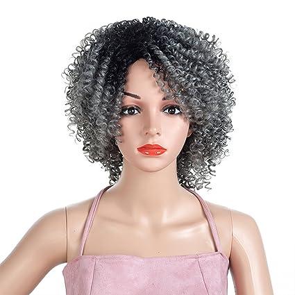 Peluca de pelo afro rizado de NACOLA para mujer negra, fibra sintética resistente al calor