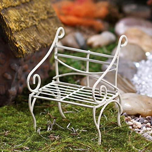 Pair of Miniature Fairy Garden Size Antique White Wire Sitting Bench
