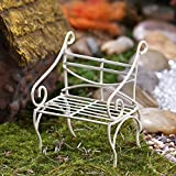 Cheap Pair of Miniature Fairy Garden Size Antique White Wire Sitting Bench