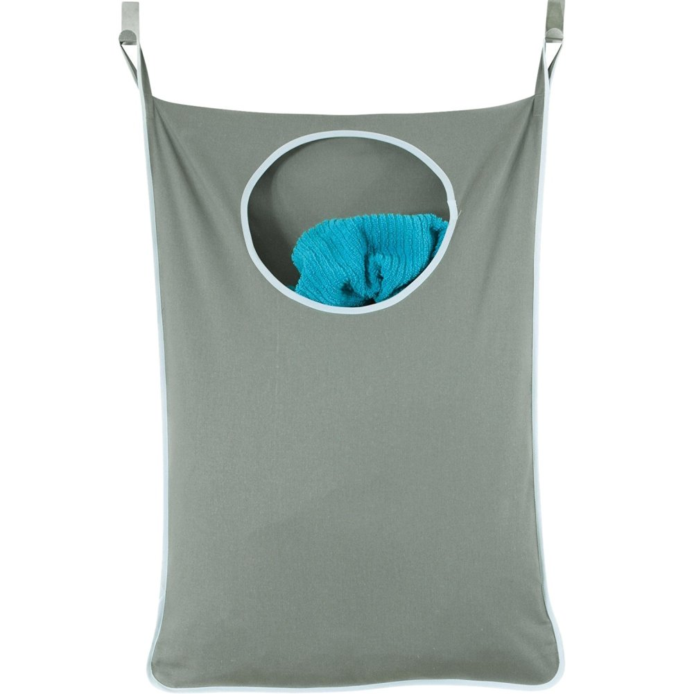 Smartcoco Door-Hanging Laundry Hamper Large Capacity Laundry Nook Organizer Bag with Stainless Steel and Suction Cup Hooks