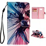 Uming® Wonderful Rope Series Colorful Pattern Print PU case [ Phantom | for Samsung Galaxy S5 I9600 S5Neo ] Artificial-leather Flip Holster with Hand Strap Holder Stand Card Slot Wallet Hasp Magnet Button Buckle Shell Protective Mobile Cell Phone Case Cover Bag
