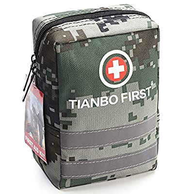 120 Pieces First Aid Kit, Tactical Trauma Kit with Reflective Stripe, Ideal for Camping, Survival, Hiking, Rescue Camouflage by TIANBO FIRST