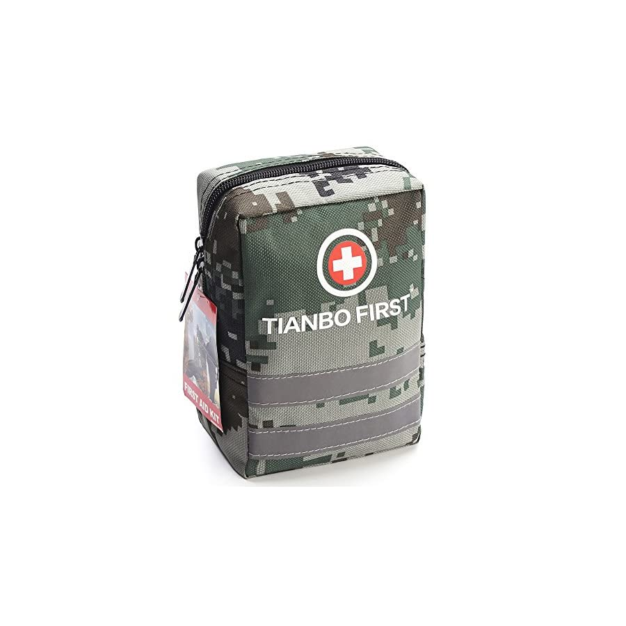 120 Pieces First Aid Kit, Tactical Trauma Kit with Reflective Stripe, Ideal for Camping, Survival, Hiking, Rescue Camouflage