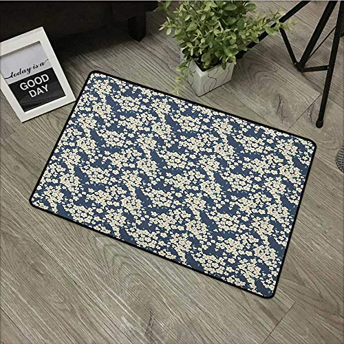 Square Door mat W31 x L47 INCH Floral,Vibrant Little Blossoms Flourishing Garden Feminine Lovely Flora Graphic Art, Night Blue Ivory Non-Slip, with Non-Slip Backing,Non-Slip Door Mat Carpet ()