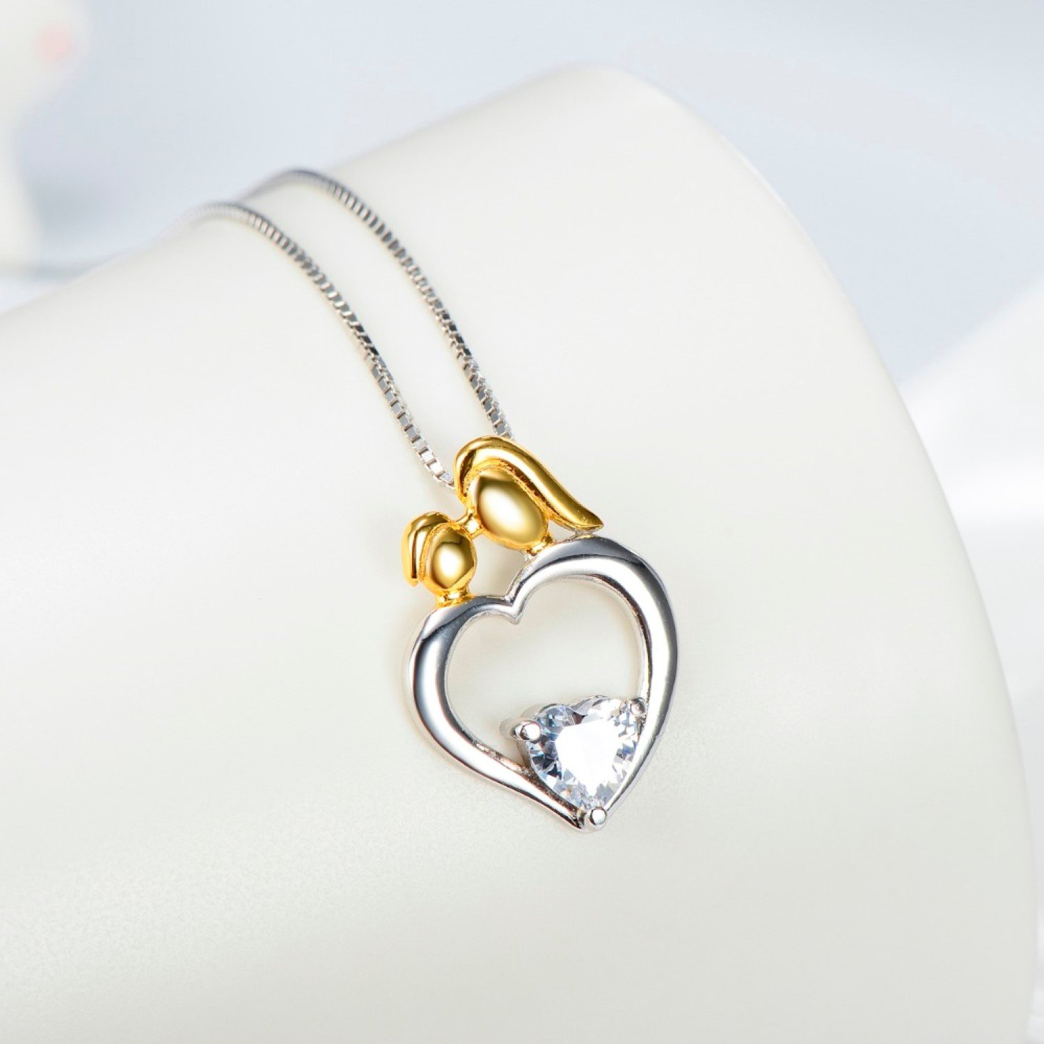 CS-DB Womens Necklaces by Silver Pendant Mother /& Baby Love Heart Crystal Charm Girls