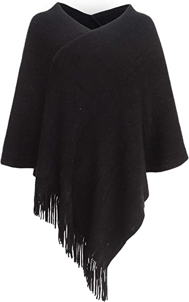 Navy 100/% Acrylic Hooded V-Shape Knitted Poncho with Fringes One Size