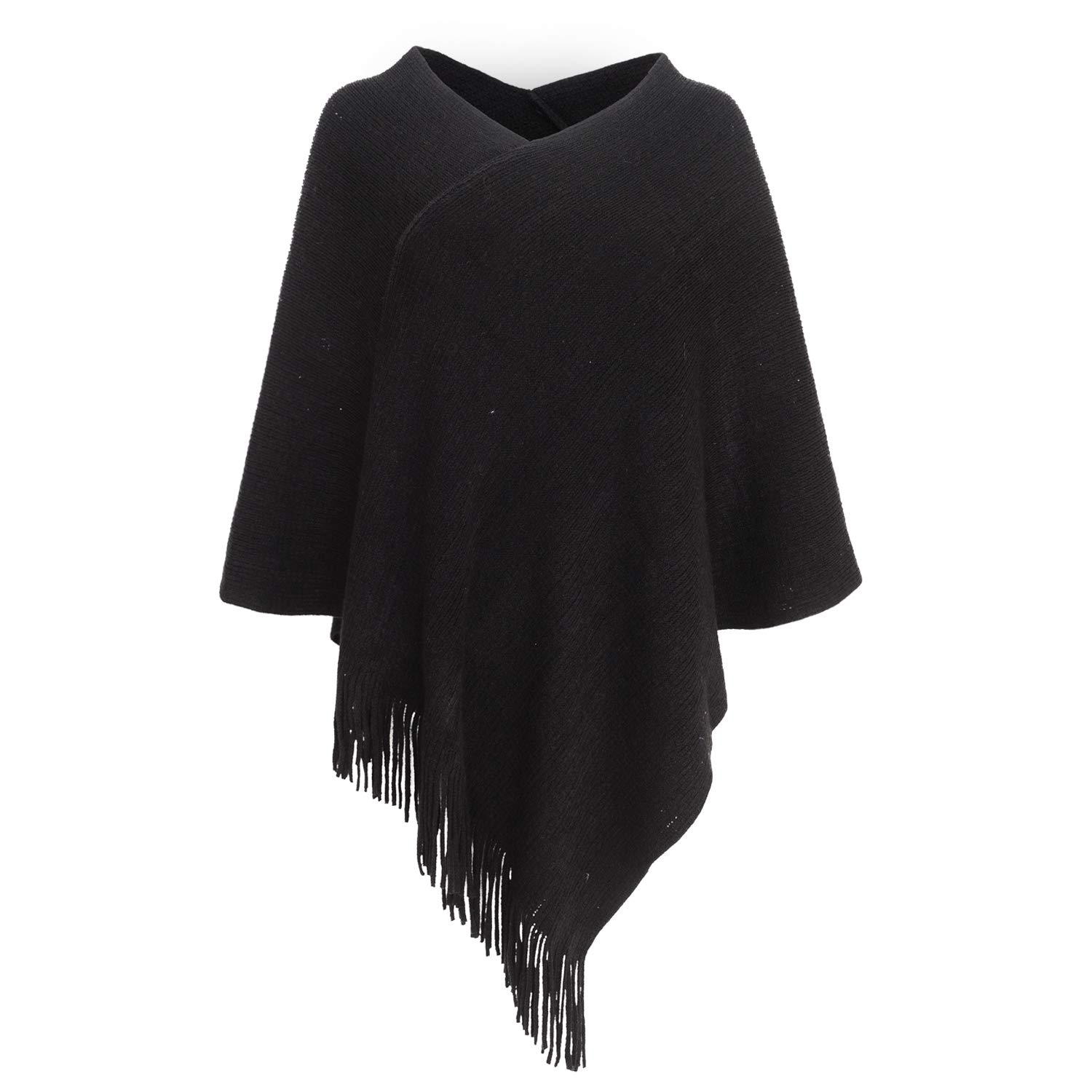 e49586d057960 Womens Poncho Sweater V Neck Knitted Pullover Shawls Wraps Capes with  Fringes Gifts for Women Mom at Amazon Women's Clothing store: