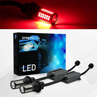 Syneticusa Error Free Canbus Ready Red LED Brake Parking Tail Stop Turn Signal Light Bulbs DRL Parking Lamp No Hyper Flash All in One With Built-In Resistors (3157): Automotive