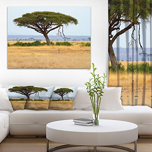 Acadia Tree and Cheetah in Africa Oversized African Landscape Canvas Art by Design Art