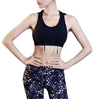 10e389fc7bc42 Bigood Women Sports Fitness Yoga Breathable Hooded Bra Racer Back Padded  Bras