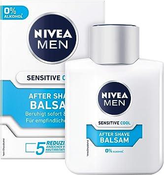 NIVEA MEN Sensitive Cool After Shave Balsam im 1er Pack ( 1 x 100 ml), beruhigendes After Shave, Hautpflege nach der Rasur mit Kamille und