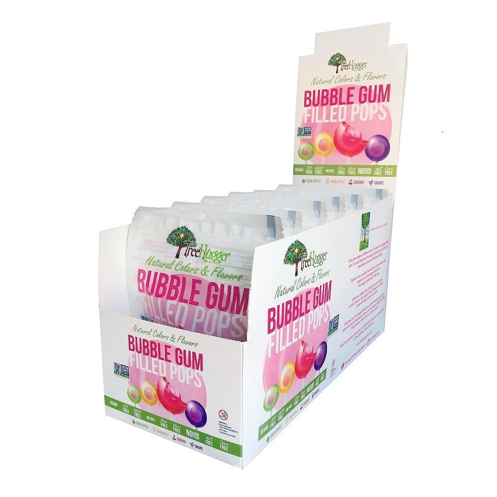 Tree Hugger Bubble Gum Pops in Stand Up Resealable Bags, 6 Bags (12 Pops Per bag)