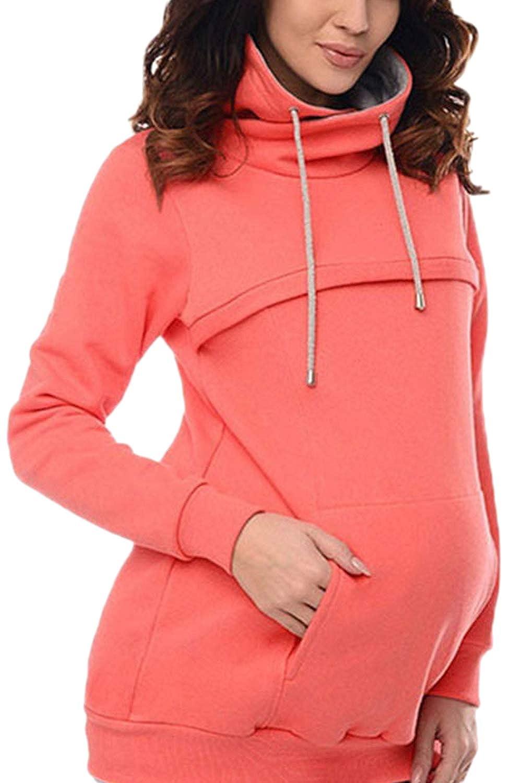 Fanvans Nursing Hoodie Breastfeeding Maternity Sweatshirt with Pockets
