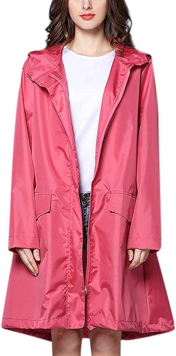 HOSOME Women Outdoors Rain Jacket Hooded Solid Pockets Coat