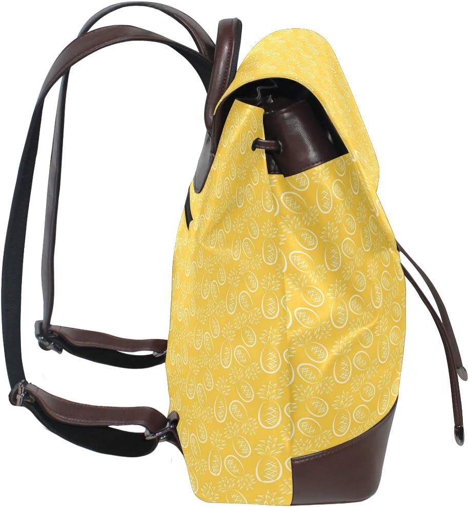 Leather Yellow Pineapple Pattern Backpack Daypack Bag Women