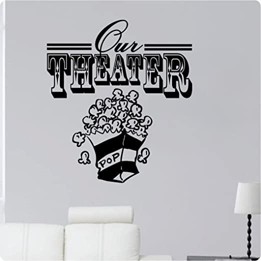 Amazon Com 24 Our Theater Movie Room Popcorn Den Living Room Tv Wall Decal Sticker Art Home Decor Home Kitchen