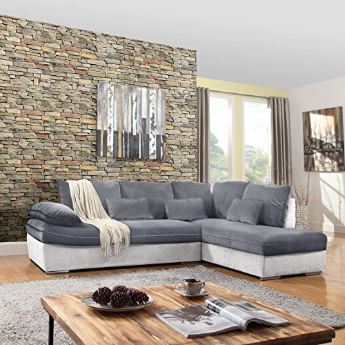 Classic Large Brush Microfiber L-Shape Sectional Sofa Couch with Chaise Lounge (Light Grey / Dark Grey)