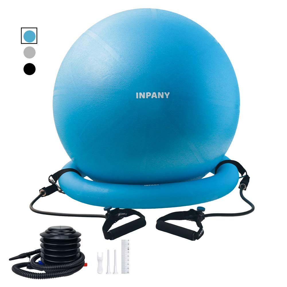 Ball Chair - Exercise Stability Yoga Ball with Base for Home and Office Desk, Ball Seat, Flexible Seating with Pump, Improves Balance, Back Pain, Core Strength & Posture by Inpany