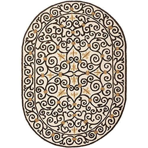 Chelsea Oval Rug (Safavieh Chelsea Collection HK11H Hand-Hooked Ivory and Dark Brown Premium Wool Oval Area Rug (7'6