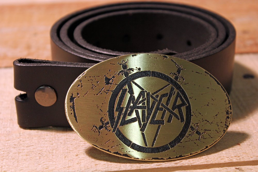 Slayer Etched Metal Belt Buckle