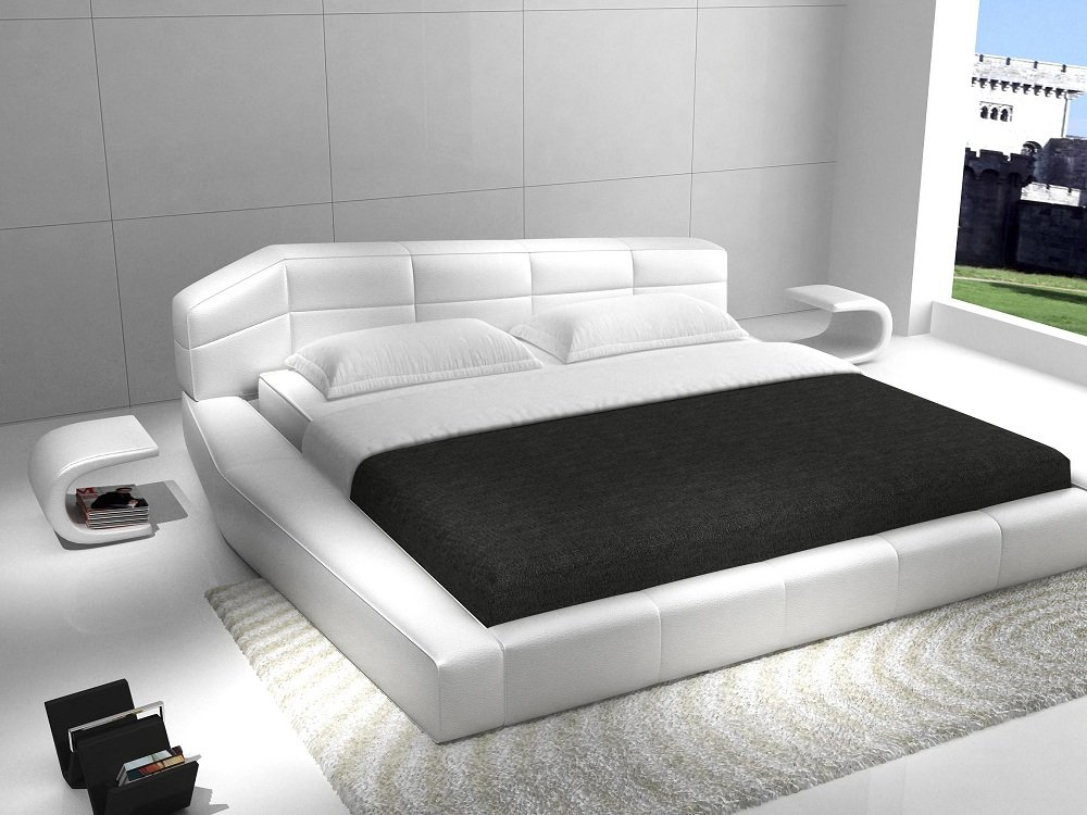 Amazon.com: Ju0026M Furniture Dream White Leather Queen Size Bedroom Set:  Kitchen U0026 Dining