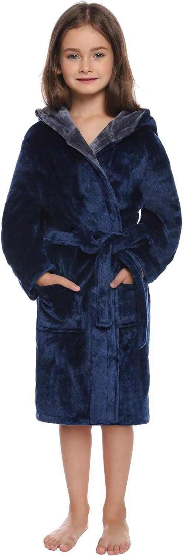 Aibrou Jungen//M/ädchen Winter Flanell Bademantel mit Kapuze und Doubleface Optik Marineblau XL