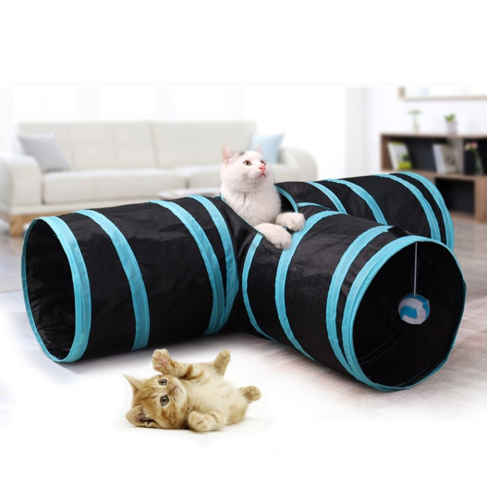 Brand New 3 Way Collapsible Pet Tunnel, Fun Run Play Cat / Puppy / Rabbits Tunnel with Ringing Ball The Best Kingdom
