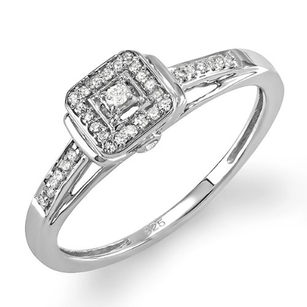 0.15 Carat (ctw) Sterling Silver Round Diamond Ladies Square Engagement Ring (Size 7)