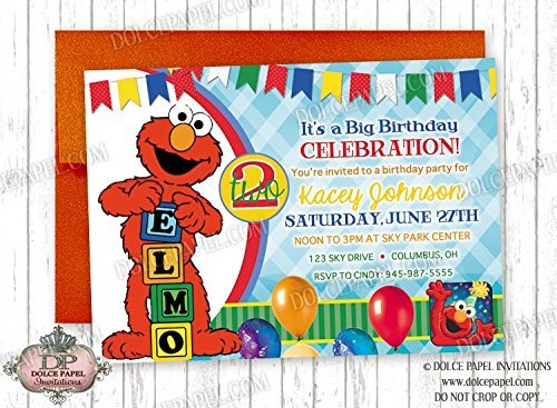 Amazon Com 10 Elmo 2nd Birthday Party Invitations Any Age With Red