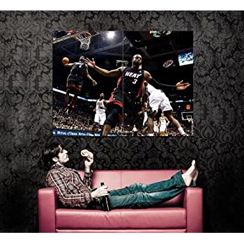 b340a352d3168 Amazon.com: XD8871 LeBron James Dwyane Wade Alley-oop NBA HUGE GIANT ...