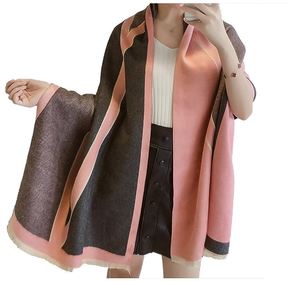 Extra Warm Color Block Fashion Scarf Shawl Pink
