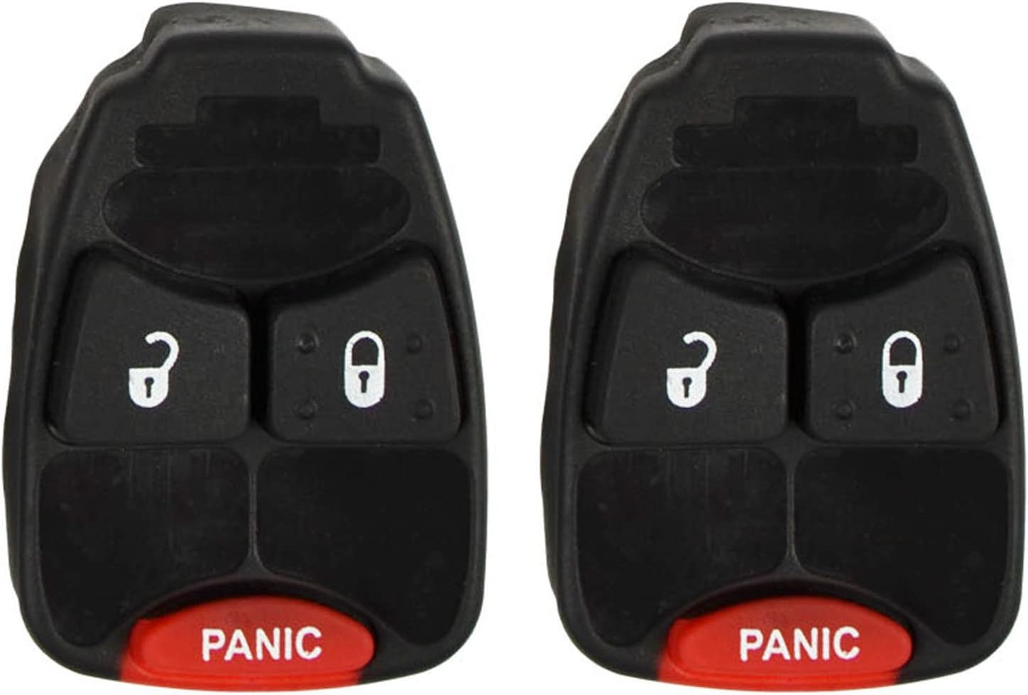 qualitykeylessplus Two Replacement 3 Button Rubber Pads for Chrysler Remotes Keyless Entry with Free KEYTAG