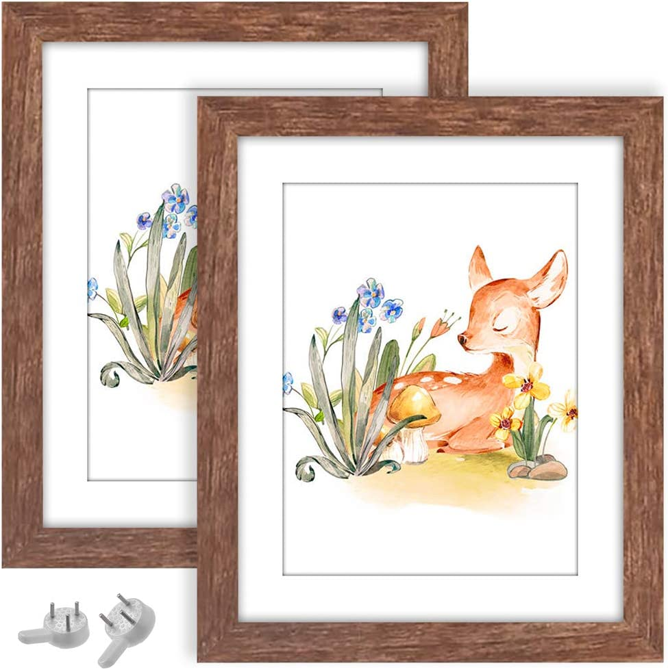 VMUZEDER 8X10 Picture Frames Wood Rustic Brown Set of 2 Packs, with High Definition Glass Display 8x10 Without Mat or 5x7 Photos with Mat for Table Top and Wall